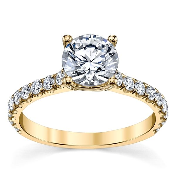 Suns and Roses 14k Yellow Gold Diamond Engagement Ring Setting 1/2 ct. tw.
