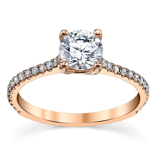 Suns and Roses 14k Rose Gold Diamond Engagement Ring Setting 1/5 ct. tw.