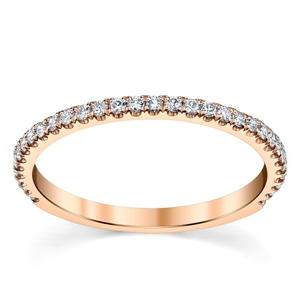 Suns and Roses 14k Rose Gold Diamond Wedding Band 1/5 ct. tw.