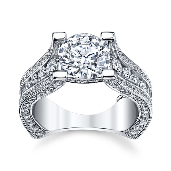 Michael M. 18k White Gold Diamond Engagement Ring Setting 2 ct. tw.