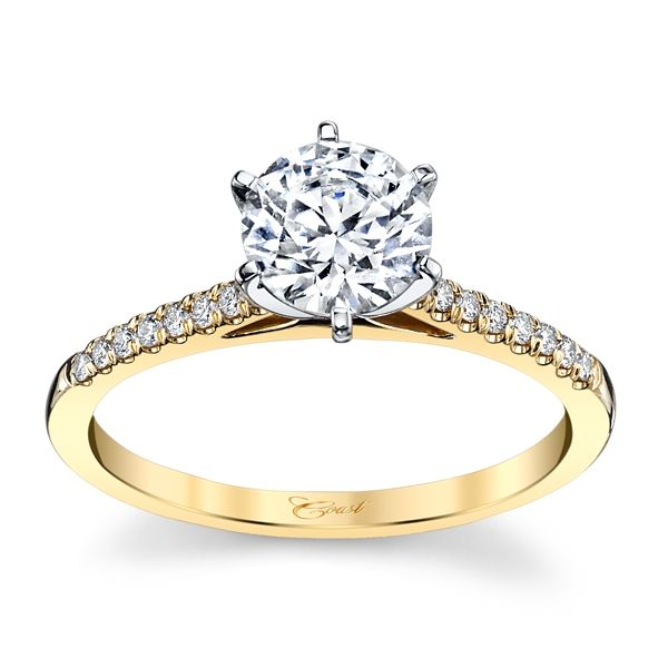 Coast Diamond 14k Yellow Gold and 14k White Diamond Engagement Ring Setting 1/10 ct. tw.