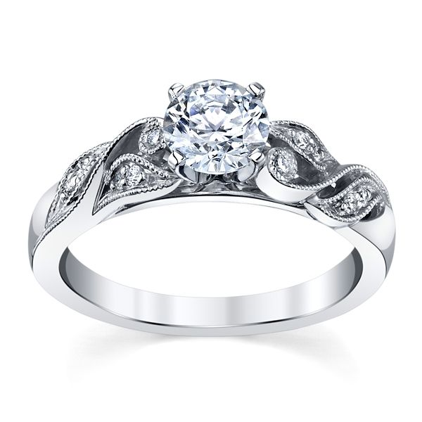 RB Signature 14k White Gold Diamond Engagement Ring Setting .06 ct. tw.