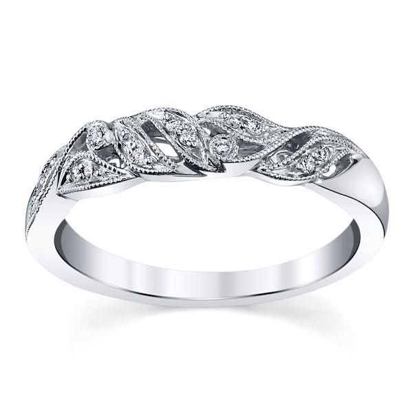 RB Signature 14k White Gold Diamond Wedding Band .06 ct. tw.