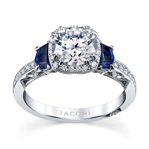 Tacori 18k White Gold Blue Sapphire Diamond Engagement Ring Setting 1/4 ct. tw.