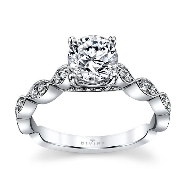 Divine 14k White Gold Diamond Engagement Ring Setting 1/6 ct. tw.