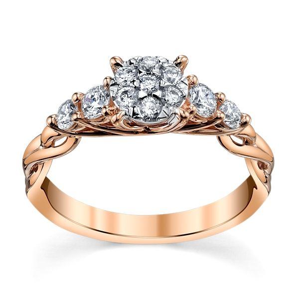 Cherish 14k Rose and 14k White Gold Diamond Engagement Ring 1/2 ct. tw.