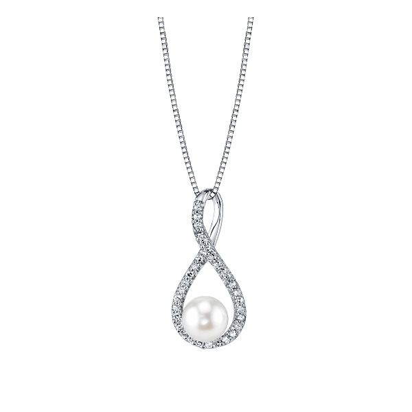 Sterling Silver Cultured Pearl and Diamond Pendant 1/10 ct. tw.