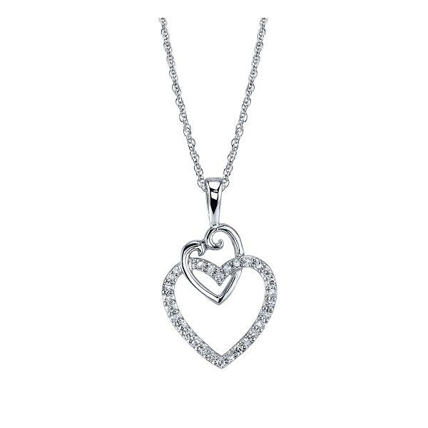 14k White Gold Heart Pendant 1/10 ct. tw.