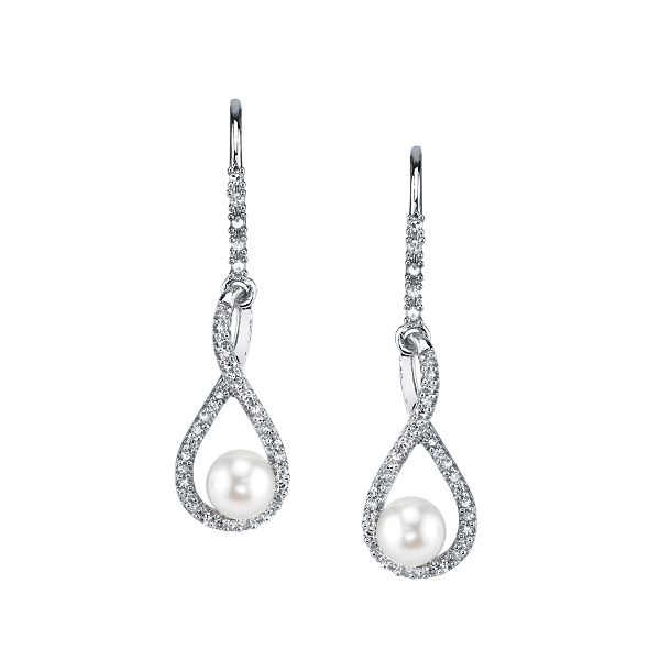 Sterling Silver Cultured Pearl and Diamond Earrings 1/5 ct. tw.