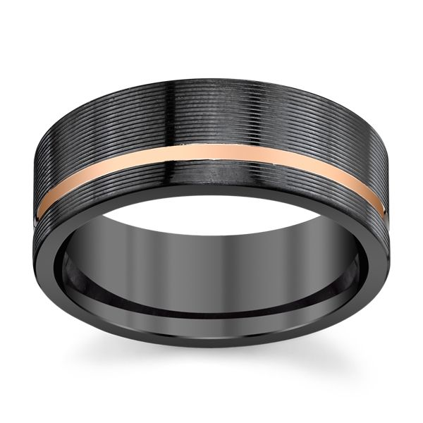 Lashbrook Black Zirconium and 14k Rose Gold 8 mm Wedding Band