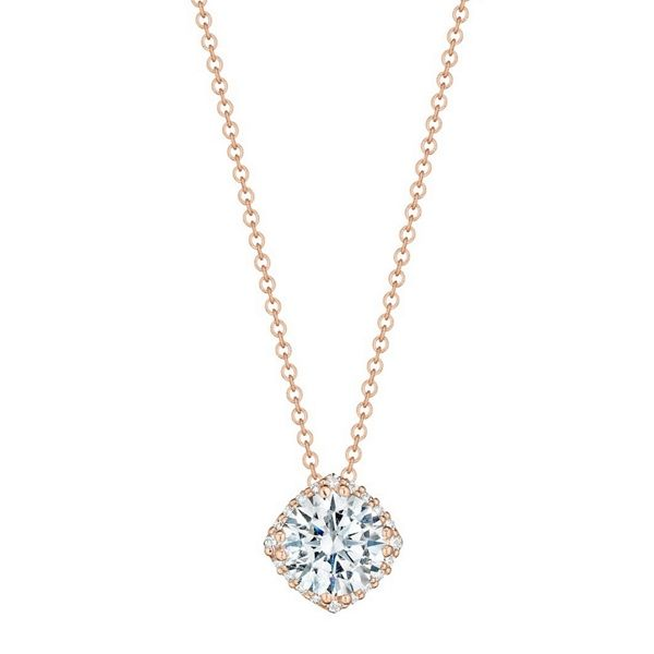 18k Rose Gold and Diamond Pendant 1/10 Ct. with 1 Ct. Round Cubic Zirconia Center by Tacori