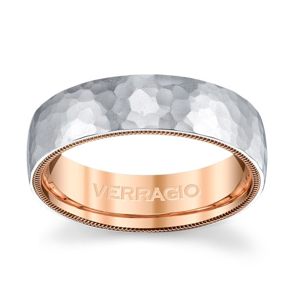 Verragio 14k White Gold and 14k Rose Gold 6 mm Wedding Band