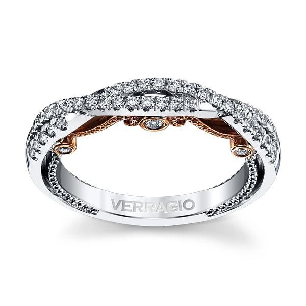 Verragio 18k White Gold and 18k Rose Gold Diamond Wedding Band 1/4 ct. tw.