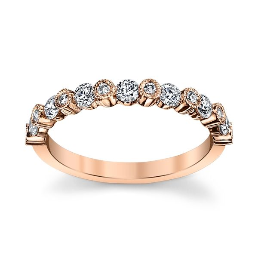 14k Rose Gold Diamond Wedding Band 1/2 ct. tw.
