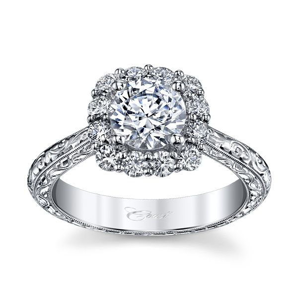 Coast Diamond 14k White Gold Diamond Engagement Ring Setting 1/2 ct. tw.
