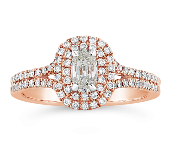 Henri Daussi 14k Rose Gold Diamond Engagement Ring 7/8 ct. tw.