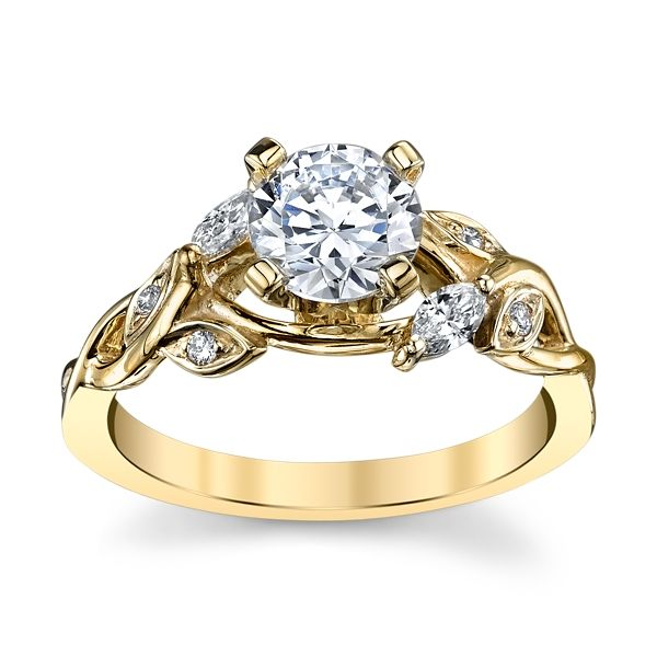 14k Yellow Gold Diamond Engagement Ring Setting 1/6 ct. tw.