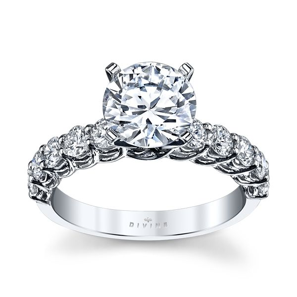 Divine 14k White Gold Diamond Engagement Ring Setting 3/4 ct. tw.