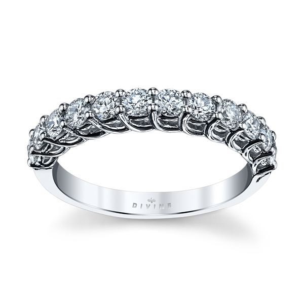 Divine 14k White Gold Diamond Wedding Band 3/4 ct. tw.