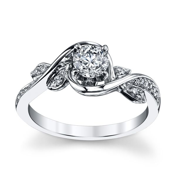 Utwo 14k White Gold Diamond Engagement Ring 1/2 ct. tw.