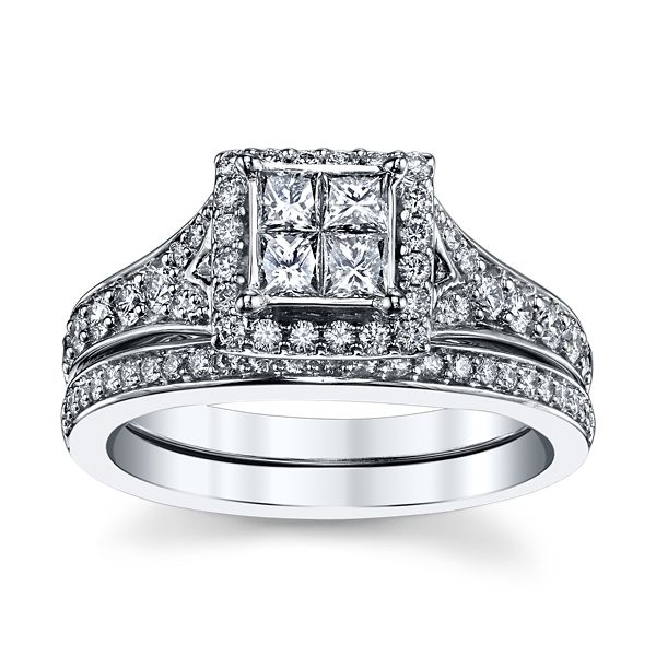 Mosaic Collection 14k White Gold Diamond Wedding Set 1 ct. tw.