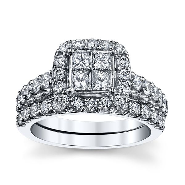 Mosaic Collection 14k White Gold Diamond Wedding Set 2 ct. tw.
