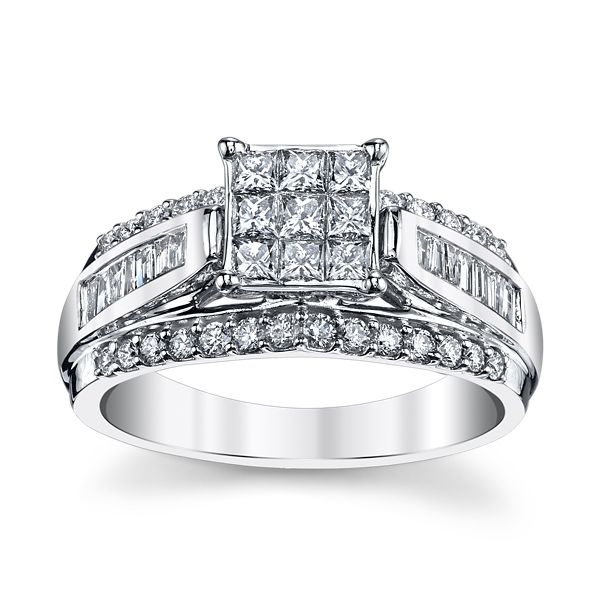 Mosaic Collection 10k White Gold Diamond Engagement Ring 1 ct. tw.