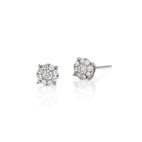 14k White Gold Cluster Earrings 1/4 ct. tw.