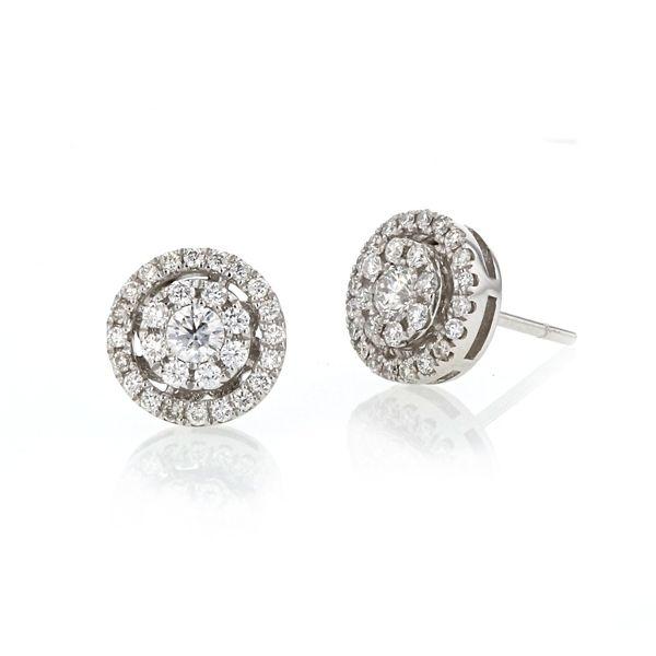14k White Gold Cluster Earrings 1/2 ct. tw.