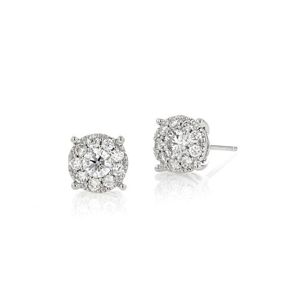 14k White Gold Cluster Earrings 1 ct. tw.