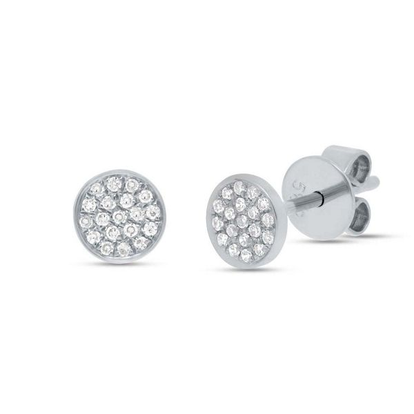 Shy Creation 14k White Gold Pave Diamond Earrings .07 ct. tw.