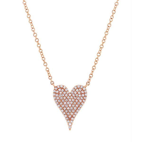 Shy Creation 14k Rose Gold Heart Diamond Pendant 1/5 ct. tw.