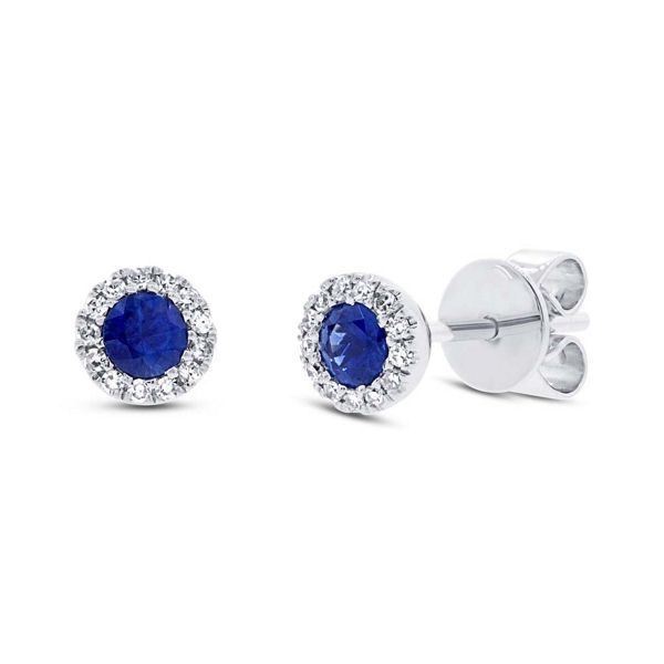 Shy Creation 14k White Gold Blue Sapphire Halo Diamond Earrings .08 ct. tw.