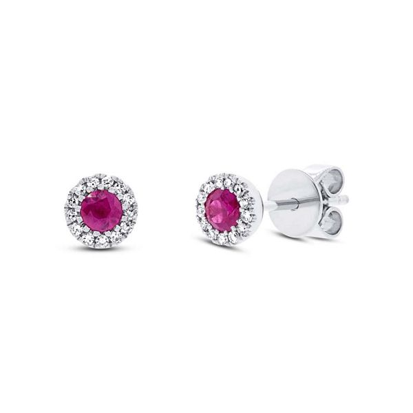 Shy Creation 14k White Gold Ruby Halo Diamond Earrings .08 ct. tw.