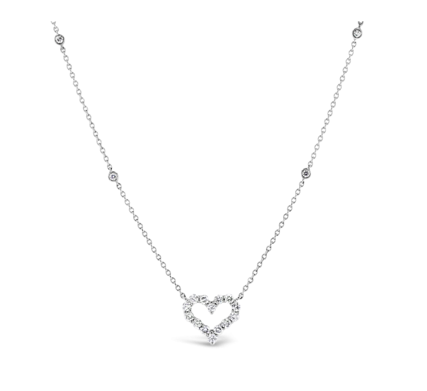 14k White Gold Heart Pendant 1/2 ct. tw.