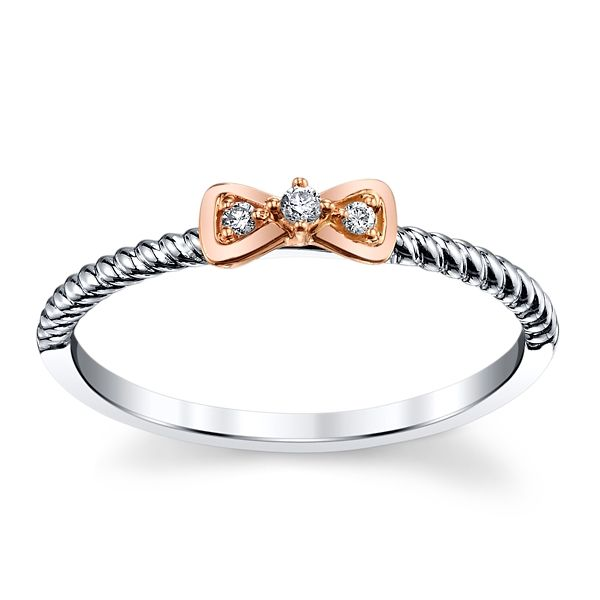 Cherish 10k White Gold and 10k Rose Gold Promise Ring .02 ct. tw.