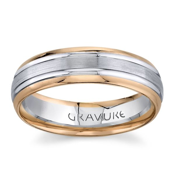 Gravure 14K White and Rose Gold 6mm Comfort Fit Wedding Band