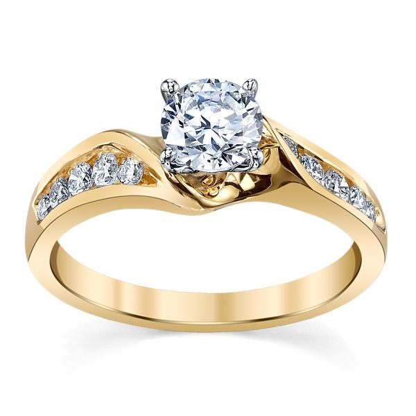 Suns and Roses 14k Yellow Gold Diamond Engagement Ring Setting 1/4 ct. tw.