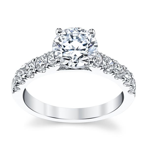 Suns and Roses 14k White Gold Diamond Engagement Ring Setting 3/4 ct. tw.