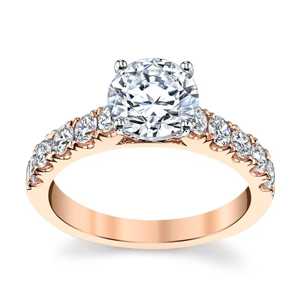 Suns and Roses 14k Rose Gold Diamond Engagement Ring Setting 3/4 ct. tw.