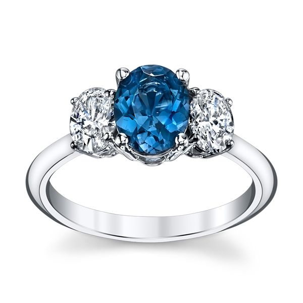 Blossom Bridal 14k White Gold Blue Spinel Diamond Engagement Ring 3/4 ct. tw.