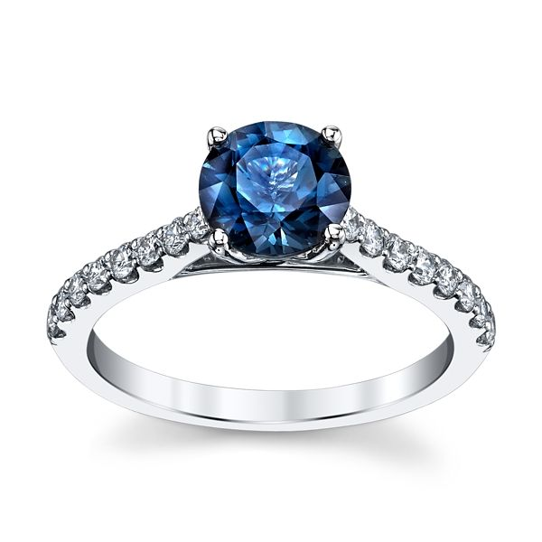 Blossom Bridal 14k White Gold Blue Spinel Diamond Engagement Ring 1/3 ct. tw.