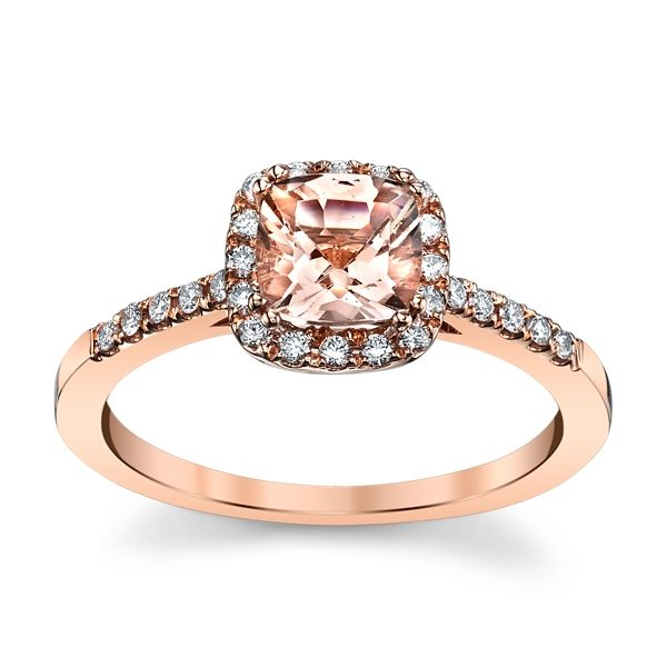 Blossom Bridal 14k Rose Gold Morganite Diamond Engagement Ring 1/5 ct. tw.