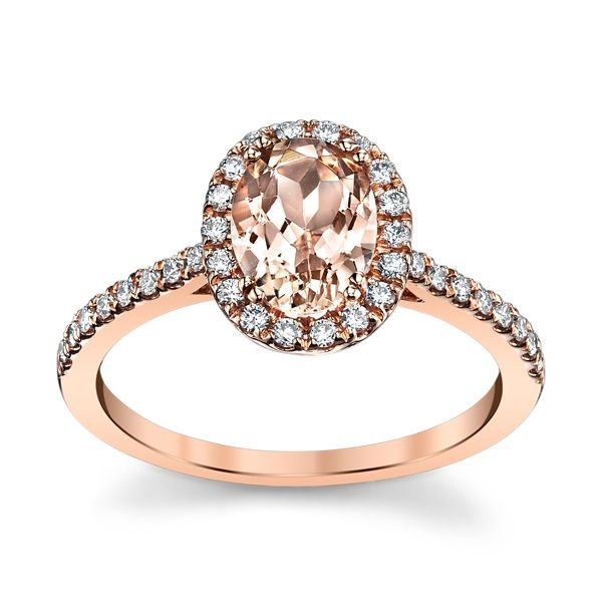 Blossom Bridal 14k Rose Gold Morganite Diamond Engagement Ring 1/4 ct. tw.
