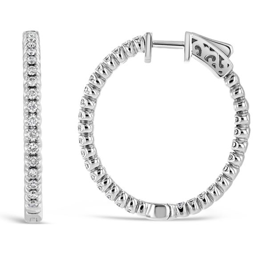 14k White Gold Hoop Earrings 1 ct. tw.