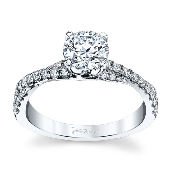Coast Diamond 14k White Gold Diamond Engagement Ring Setting 1/3 ct. tw.