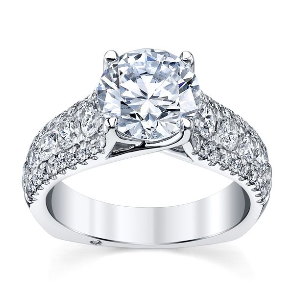 A. Jaffe 14k White Gold Diamond Engagement Ring Setting 1 ct. tw.