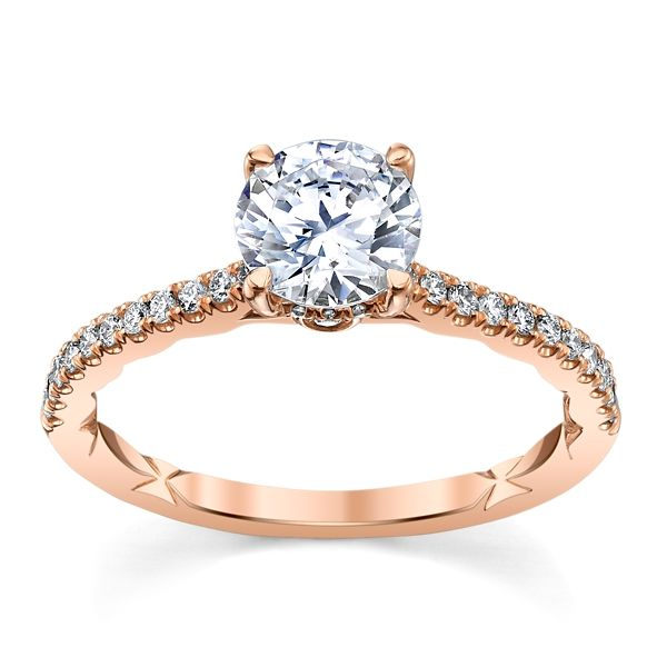A. Jaffe 14k Rose Gold Diamond Engagement Ring Setting 1/4 ct. tw.