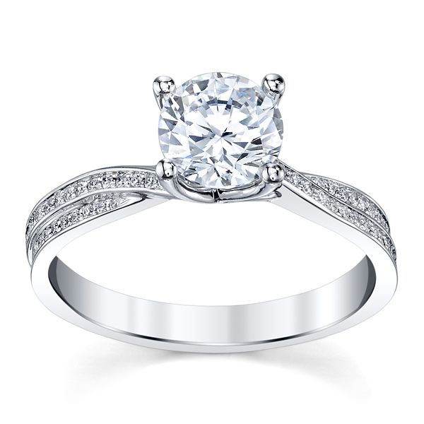 Michael M. 18k White Gold Diamond Engagement Ring Setting 1/5 ct. tw.