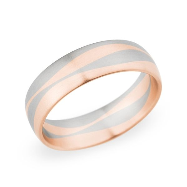 Christian Bauer 14k Red Gold and 14k White Gold 6.5 mm Wedding Band